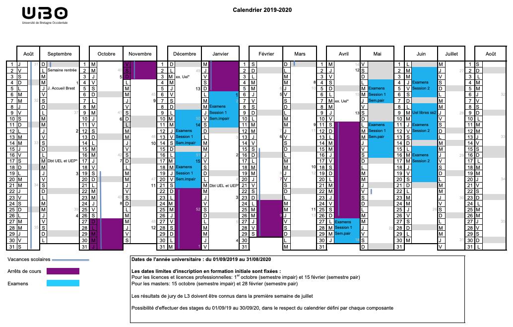 Calendrier Ubo 2021 University calendar